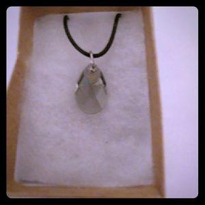 Smoke Diamond Crystal Teardrop Necklace